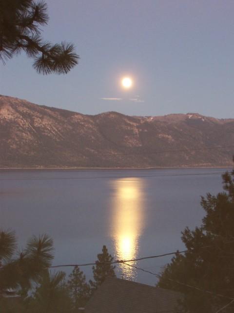 Full moonrise over Lake Tahoe.